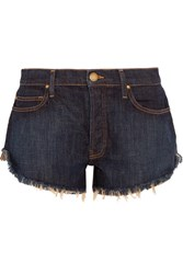 The Great Cut Off Frayed Denim Shorts Navy