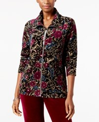 Karen Scott Petite Printed Wing Collar Jacket Created For Macy's Deep Black