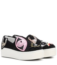 Kenzo Velvet Sneakers With Embroidered Appliques Black