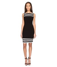 Adrianna Papell Matte Jersey Banded Sheath Dress Black Ivory Women's Dress