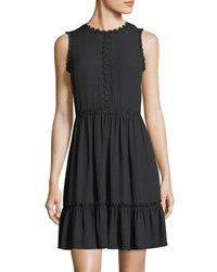 Kate Spade Floral Lace Trim Sleeveless Mini Dress Black
