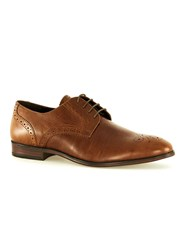 Topman Brown Leather Punched Toe Smart Shoes