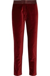Altuzarra For Target Satin Trimmed Velvet Skinny Pants Red