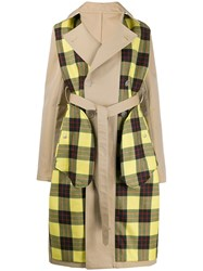 Unravel Project Checked Panels Trench Coat Neutrals