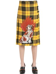 Gucci Dog Embroidered Plaid Wool Skirt