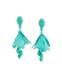 Oscar De La Renta Small Impatiens Flower Drop Earrings Aqua
