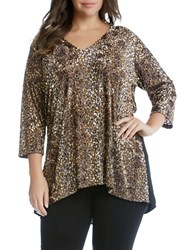Karen Kane Plus Regular Fit Burnout Knit Top Copper