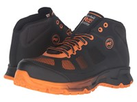 Timberland Velocity Alloy Safety Toe Mid Boot Black Synthetic Orange Pops Men's Work Lace Up Boots