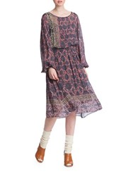 Plenty By Tracy Reese Line Dot Bohemian Midi Dress Blue Multi