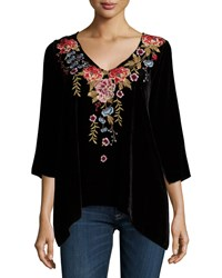 Johnny Was Amber 3 4 Sleeve Embroidered Velvet Tunic Black