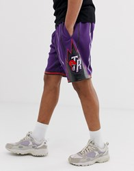 Mitchell And Ness Nba Toronto Raptors Mesh Swingman Shorts In Purple