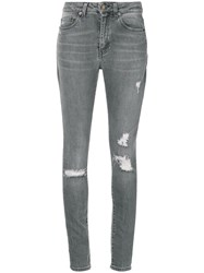 Saint Laurent Distressed Skinny Jeans Grey