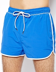 Selected Old School Blue Shortie Swim Shorts