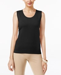 August Silk Scoop Neck Shell Black
