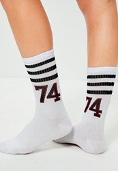 Missguided White Striped Varsity Ankle Socks