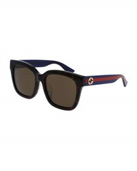 Gucci Oversized Rectangular Universal Fit Sunglasses Tortoise Blue Red Brown Pattern