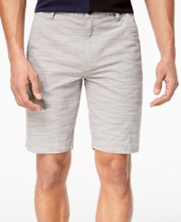 Inc International Concepts I.N.C. Flat Front Texture Stripe Shorts Grey Skies
