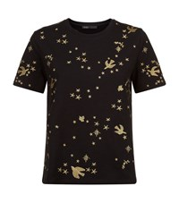 Maje Terence Embroidered T Shirt Female Black