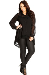 City Chic Crochet Trim Tunic Shirt Plus Size Black