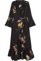 Etro Ruffled Floral Print Silk Crepe De Chine Wrap Dress Black