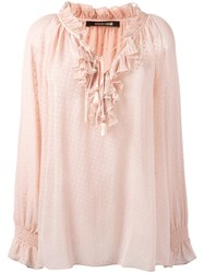 Roberto Cavalli Ruffled V Neck Sheer Blouse Pink Purple