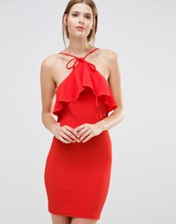 Oh My Love Frill Halter Neck Mini Dress Red