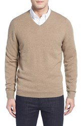 John W. Nordstromr Men's Big And Tall Nordstrom Cashmere V Neck Sweater Tan Greige