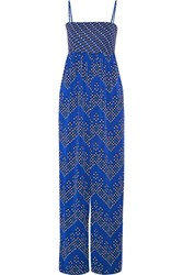 Diane Von Furstenberg Ivena Printed Stretch Silk Jumpsuit Bright Blue