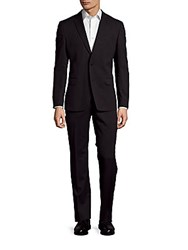 Versace Solid Wool Blend Suit Charcoal