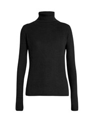 Raey Roll Neck Ribbed Fine Knit Cashmere Sweater Black