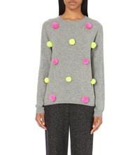 Chinti And Parker Pom Pom Detail Cashmere Jumper Grey Neon Pink Neon Lime