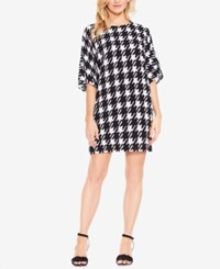Vince Camuto Houndstooth Dolman Sleeve Dress Black White Check