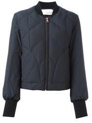 See By Chloe Quilted Bomber Jacket Blue