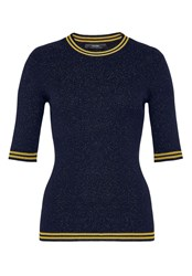 Hallhuber Lurex Jumper With Striped Cuffs Blue