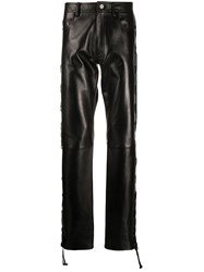 Versace Lace Up Leather Trousers 60