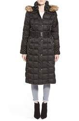 Women's Betsey Johnson Faux Fur Trim Hooded Long Puffer Coat Black
