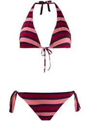 Fisico Striped Bikini Top Pink