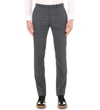 Hardy Amies Checked Heddon Fit Tapered Wool Trousers Navy Grey