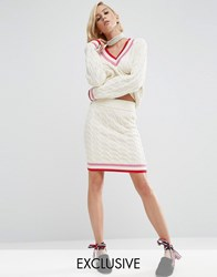 Asos Wah London X Cable Knit Cricket Skirt Cream