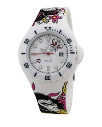 Toywatch Jelly Samurai Tattoo Watch White Pink Green