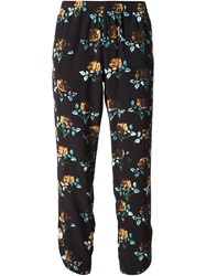 Thakoon Addition Cropped Rose Print Trousers Black