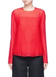 Ms Min Frayed Silk Crepon Blouse Red
