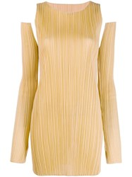 Issey Miyake Pleats Please By Shoulder Cut Out Mini Dress Yellow