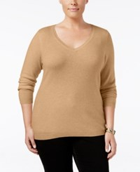 Charter Club Plus Size Cashmere V Neck Sweater Only At Macy's Heather Camel
