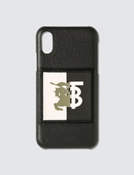 Burberry Contrast Logo Graphic Leather Iphone X Xs Case Black