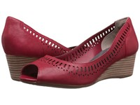 Rockport Total Motion 45Mm Lazer Cut Wedge Red Pepper Dist Goat Women's Wedge Shoes