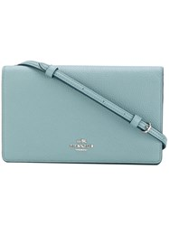 Coach Fold Over Cross Body Bag Women Leather One Size Blue