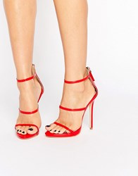 Public Desire Aisha Red Strappy Heeled Sandals Red