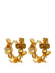 Oscar De La Renta Flower Garden Hoop Earrings Gold