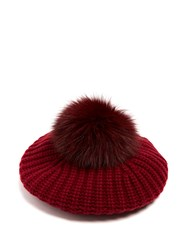 Moncler Fur Pompom Wool And Cashmere Blend Beret Burgundy